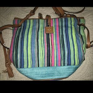 Nanette Lepore Striped Leather bucket bag strap
